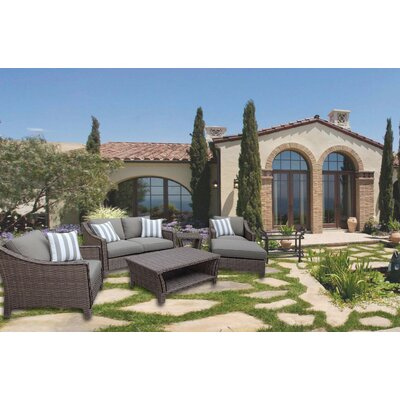 Galen 6 Piece Rattan Deep Seating Group with Cushion