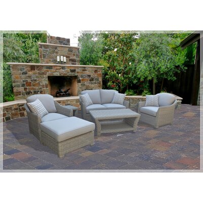 Grimes 6 Piece Rattan Deep Seating Group with Cushion