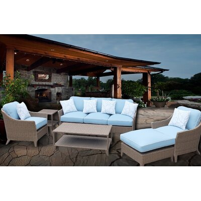 Bayside Premium 6 Piece Deep Seating Group Set with Cushions Fabric: Light Blue