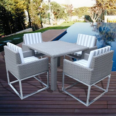 Indo Modern 5 Piece Dining Set with Cushions