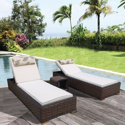 Gaia 3 Piece Chaise Lounge with Cushion