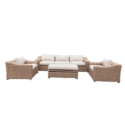 Charley 4 Piece Rattan Conversation Set with Cushions