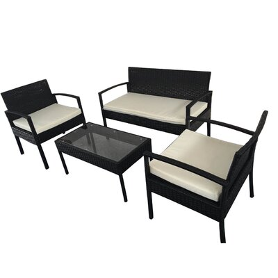 Galina 4 Piece Lounge Seating Group with Cushion