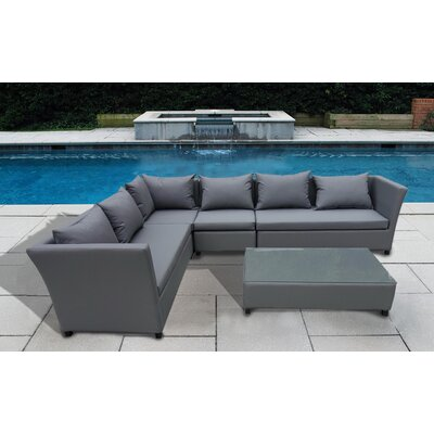 Brayden Studio Abramowitz 5 Piece Sectional Seating Group with Cushion