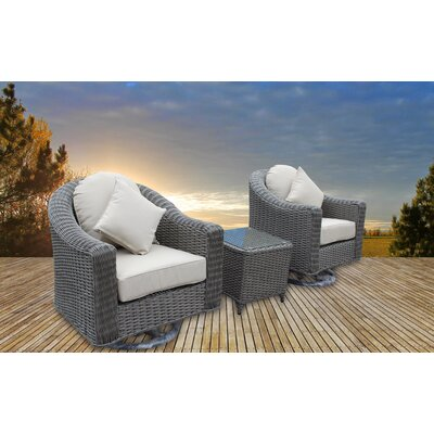 Geddes 3 Piece Deep Seating Group with Cushion Frame Finish: Gray