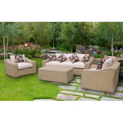 Evie Elegant Rope Style 4 Piece Sofa Seating Group with Cushion
