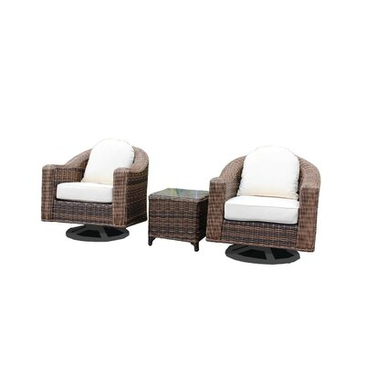 Geddes 3 Piece Deep Seating Group with Cushion Frame Finish: Brown