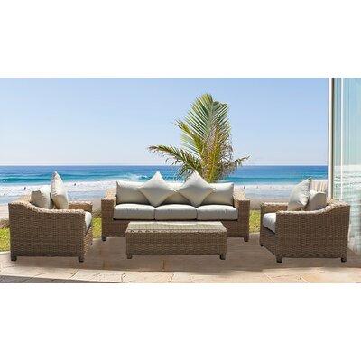 Chatham 4 Piece Rattan Sofa Set with Cushions