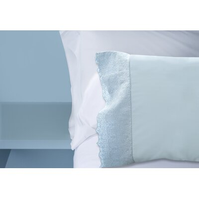 Lace Hem 400 Thread Count 100% Cotton Sheet Set Size: California King, Color: Blue