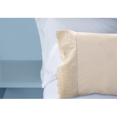 Lace Hem 400 Thread Count 100% Cotton Sheet Set Size: Standard Pillowcase, Color: Taupe