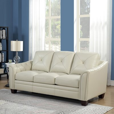 Chiang Top Grain Leather Standard Sofa Color: Ivory