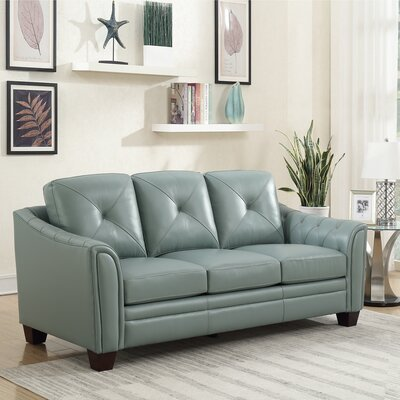 Chiang Top Grain Leather Standard Sofa Color: Spa Blue