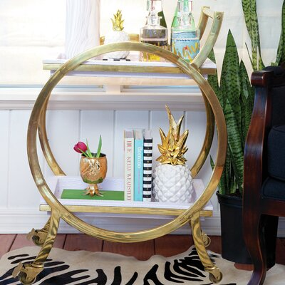 8 Oak Lane Round Bar Cart