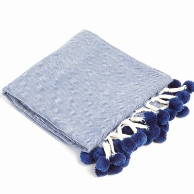 Pom Herringbone Throw Color: Blue
