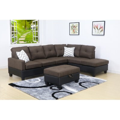 Olivia Sectional Orientation: Right Hand Facing, Upholstery: Linen-Light Brown