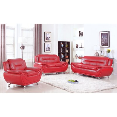 Lester 3 Piece Living Room Set Color: Red