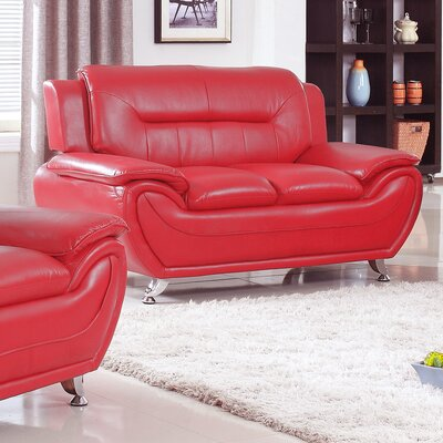 Bergenfield Modern Living Room Faux Leather Loveseat Color: Red