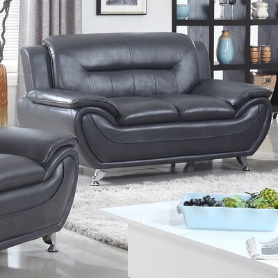 Lester Modern Living Room Faux Leather Loveseat Upholstery: Black