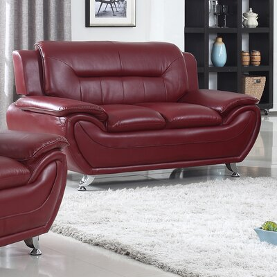 Bergenfield Modern Living Room Faux Leather Loveseat Color: Burgundy