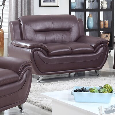 Bergenfield Modern Living Room Faux Leather Loveseat Color: Dark Brown