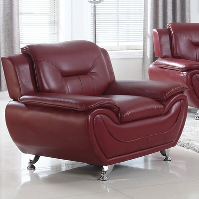 Bergenfield Modern Living Room Club Chair Upholstery: Burgandy