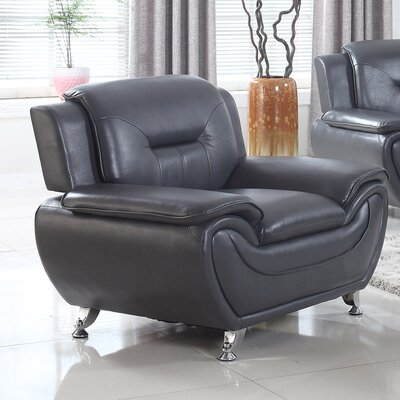 Bergenfield Modern Living Room Armchair Upholstery: Black