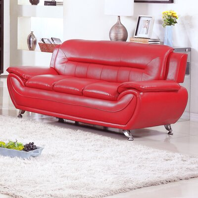 Lester Modern Living Room Sofa Upholstery: Red