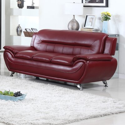 Bergenfield Modern Living Room Sofa Color: Burgandy