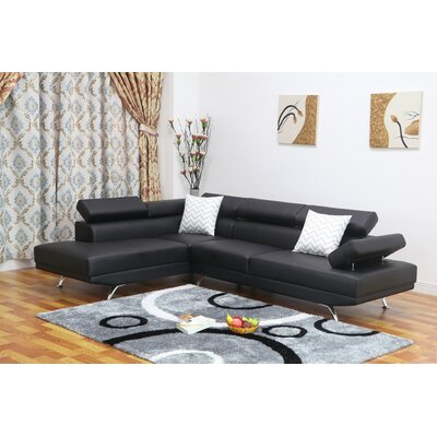 Whitney Reclining Sectional Upholstery: Black, Orientation: Left Hand Facing
