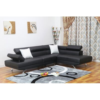 Whitney Reclining Sectional Upholstery: Black, Orientation: Right Hand Facing