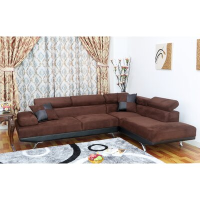 Whitney Sectional Orientation: Right Hand Facing, Upholstery: Dark brown