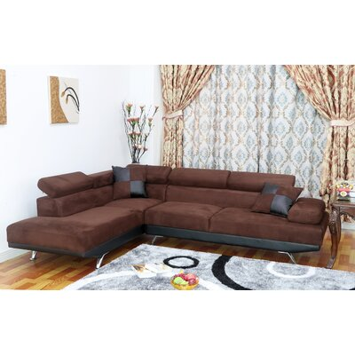 Whitney Sectional Orientation: Left Hand Facing, Upholstery: Dark brown