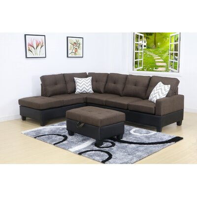 Olivia Sectional Orientation: Left Hand Facing, Upholstery: Linen-Light Brown