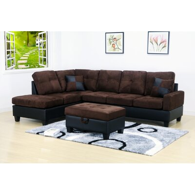 Olivia Sectional Orientation: Left Hand Facing, Upholstery: Microfiber-Dark Brown