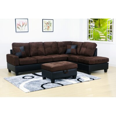 Olivia Sectional Orientation: Right Hand Facing, Upholstery: Microfiber-Dark Brown