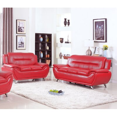 Bergenfield Sofa and Loveseat Set Color: Red