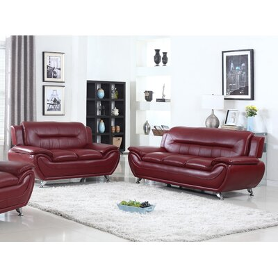 Bergenfield Sofa and Loveseat Set Color: Burgundy