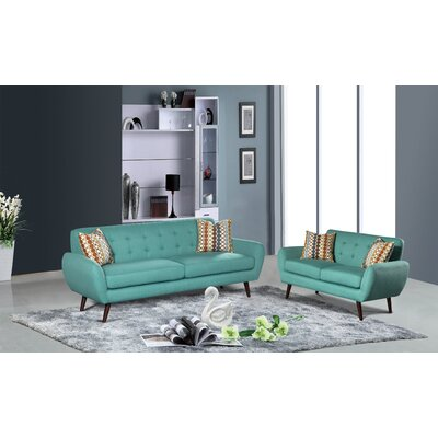 Philip 2 Piece Living Room Sofa and Loveseat Set Upholstery: Teal