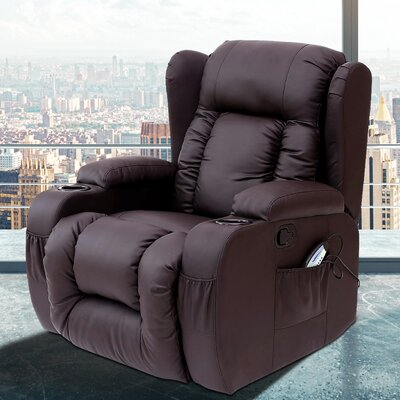 Idaho Heated Vibrating Massage Recliner Color: Brown