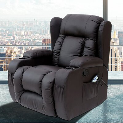 Idaho Heated Vibrating Massage Recliner Color: Black
