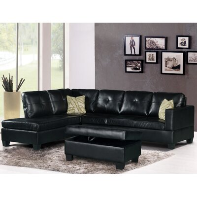 Olivia Sectional Upholstery: Black, Orientation: Left Hand Facing
