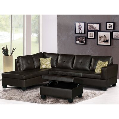Olivia Sectional Upholstery: Dark Brown, Orientation: Left Hand Facing