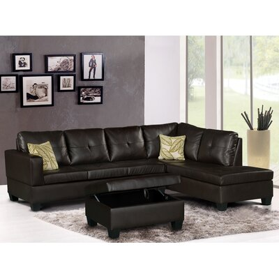 Olivia Sectional Upholstery: Dark Brown, Orientation: Right Hand Facing