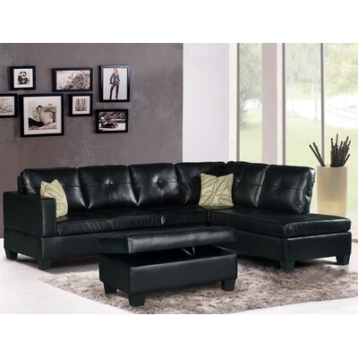 Olivia Sectional Upholstery: Black, Orientation: Right Hand Facing