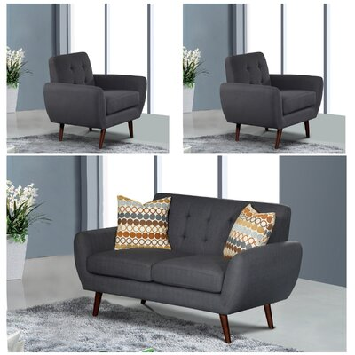 Philip 3 Piece Living Room Set Upholstery: Dark Gray