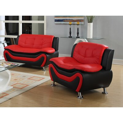 Machelle 2 Piece Loveseat and Chair Set Upholstery: Black/Red
