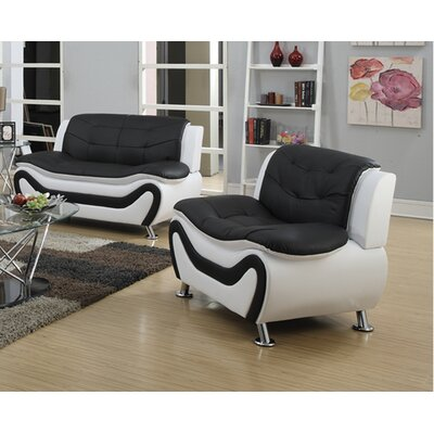 Machelle 2 Piece Loveseat and Chair Set Upholstery: Black/White