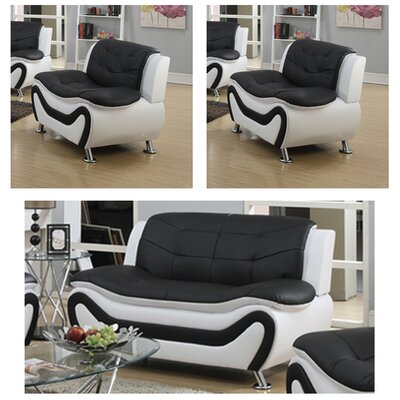 Machelle 3 Piece Loveseat and Chairs Set Upholstery: Black/White