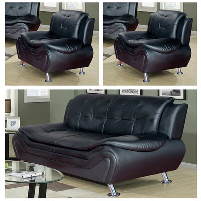 Machelle 3 Piece Sofa and Chair Set Upholstery: Black