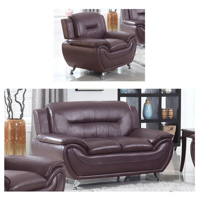 Bergenfield Loveseat and Chair Set Upholstery: Dark Brown